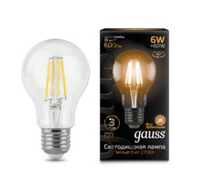 Лампа Gauss LED 102802106 Filament A60 E27 6W 2700К