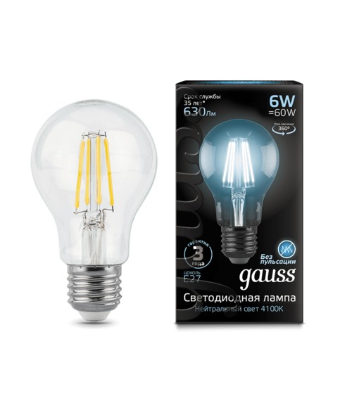 Лампа Gauss LED 102802206 Filament A60 E27 6W 4100К
