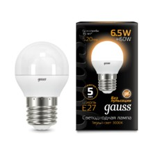 Лампа Gauss LED 105102107 Globe E27 6.5W 2700K
