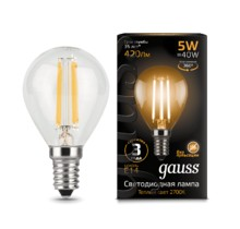 Лампа Gauss LED 105801105 Filament Globe E14 5W 2700K