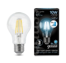 Лампа Gauss LED 102802210-S Filament A60 E27 10W 4100К step dimmable