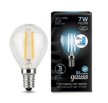 Лампа Gauss LED 105801207-S Filament Globe E14 7W 4100K step dimmable